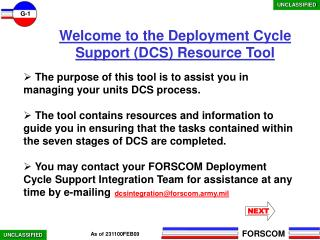Welcome to the Deployment Cycle Support DCS Resource Tool
