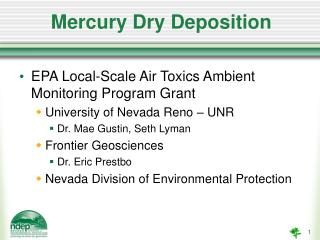 Mercury Dry Deposition