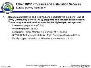 Other MWR Programs and Installation Services Survey of Army Families V