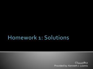 Homework 1: Solutions