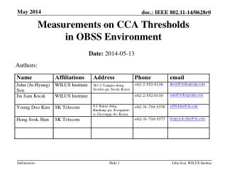 Measurements on CCA Thresholds  in OBSS Environment