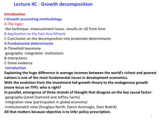 Introduction  I‐Growth accounting methodology A‐The logic :