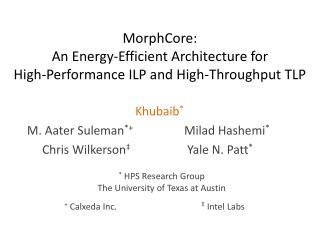 MorphCore:  An Energy-Efficient Architecture for  High-Performance ILP and High-Throughput TLP