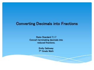Converting Decimals into Fractions