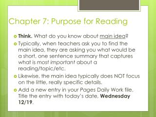 Chapter  7: Purpose for Reading