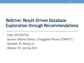 Date: 2012/07/02 Source:  Marina  Drosou ,  Evaggelia Pitoura  ( CIKM'11)  Speaker:  Er -Gang Liu