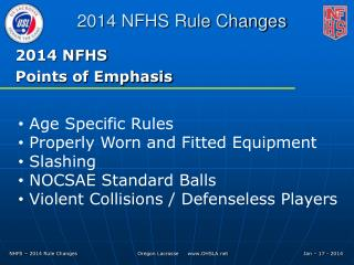2014 NFHS Points of Emphasis