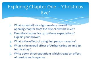 Exploring Chapter One – 'Christmas Eve'
