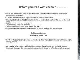 Before you read with children…………..