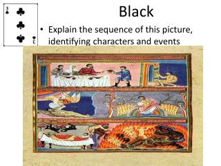 Black Explain the sequence of this picture, identifying characters and events