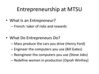 Entrepreneurship at MTSU