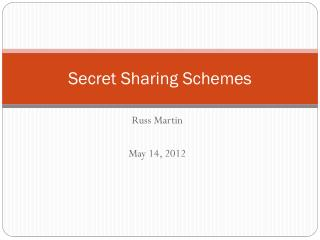 Secret Sharing Schemes