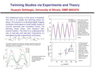 Twinning Studies via Experiments and Theory Huseyin Sehitoglu, University of Illinois, DMR 0803270