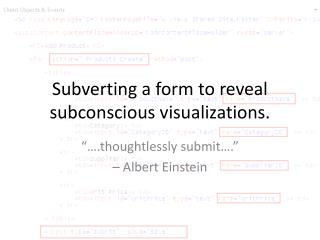Subverting a form to reveal subconscious visualizations.