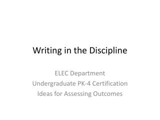 Writing in the Discipline