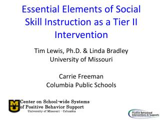Essential Elements of Social Skill Instruction as a Tier II Intervention