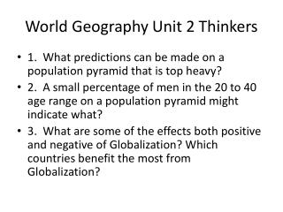 World Geography Unit 2 Thinkers