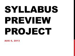 Syllabus Preview Project