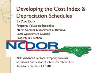 Developing the Cost Index       Depreciation Schedules