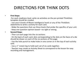 DIRECTIONS FOR THINK DOTS