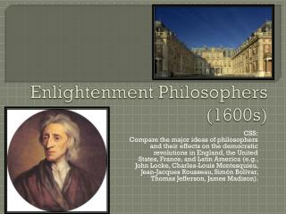 Enlightenment Philosophers (1600s)