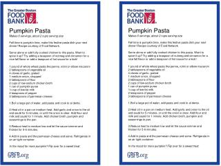 Pumpkin  Pasta Makes 6 servings, about 2 cups serving size