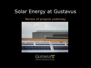 Solar Energy at Gustavus