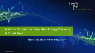 National  Summit  on Integrating  Energy Efficiency & Smart Grid