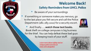 Welcome Back! Safety Reminders from UHCL Police