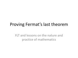 Proving Fermat's last theorem