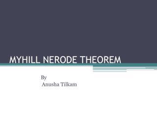MYHILL NERODE THEOREM