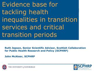 SCPHRP's Adolescence  and Young  Adulthood Working Group