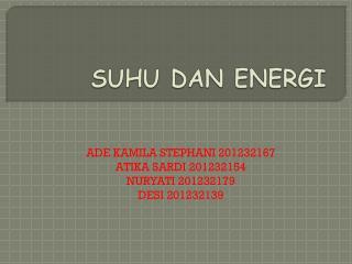 SUHU DAN ENERGI