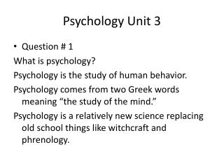 Psychology Unit 3
