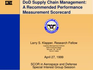 DoD Supply Chain Management: A Recommended Performance Measurement Scorecard