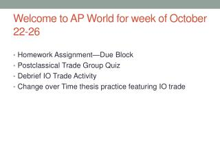 Welcome to AP World for week of October 22-26
