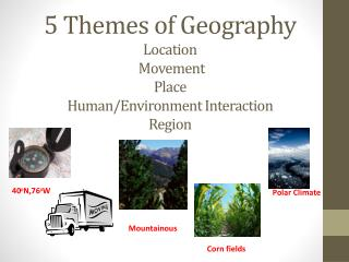5 Themes of Geography Location Movement Place Human/Environment Interaction Region