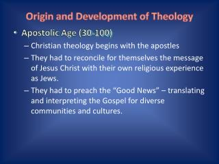 Origin and Development of Theology
