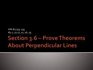 Section 3.6 – Prove Theorems About Perpendicular Lines