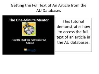 Getting the Full Text of An Article from the AU Databases