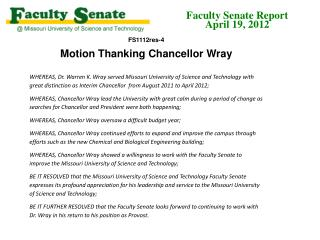 Motion Thanking Chancellor Wray