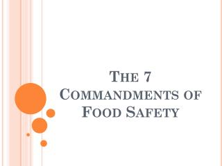The 7 Commandments of Food Safety