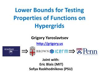 Lower Bounds for Testing Properties of Functions on  Hypergrids