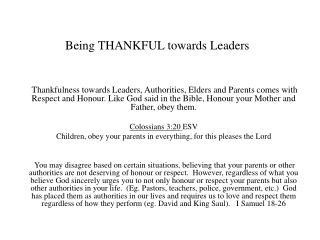 Being THANKFUL towards Leaders