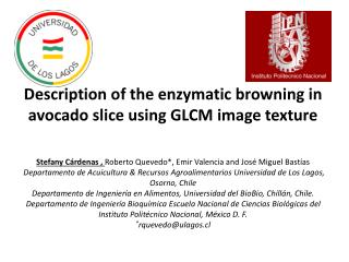 Description  of the enzymatic browning in avocado slice using GLCM image texture