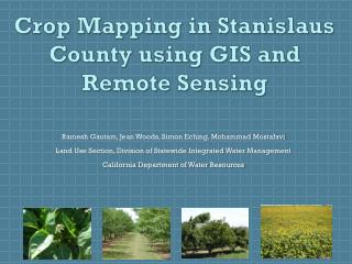 Crop Mapping in Stanislaus County using GIS and Remote Sensing