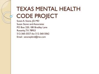 TEXAS MENTAL HEALTH CODE PROJECT