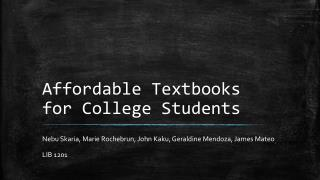 Affordable Textbooks for College Students