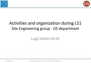 Activities  and organization during  LS1 Site  Engineering  group - GS department