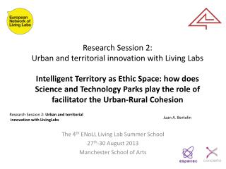 Research Session 2:  Urban and territorial innovation with Living Labs